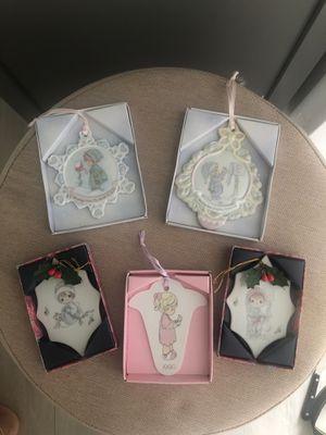 Lot of 5 Vintage Enesco Precious Moments Christmas Ornaments 90's for Sale in Miami, FL