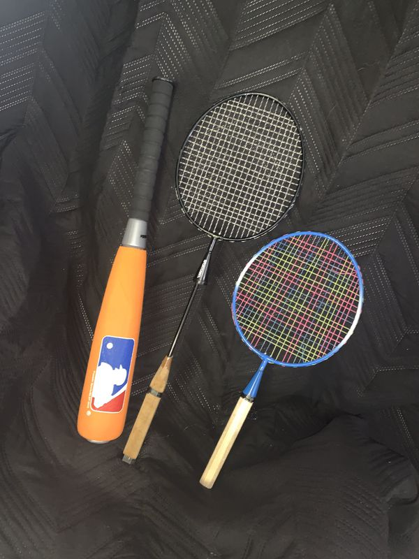Tennis rackets, baseball bat