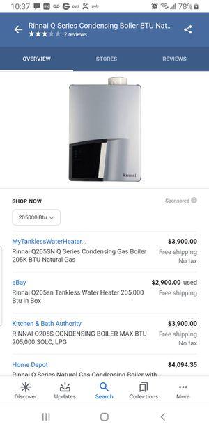 Rinnai Q205SN boiler liquid 205,000BTU Naturel gas tankless water heater for Sale in Denver, CO
