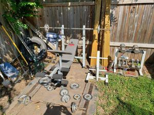 Weights, dumbbells, bars, etc...All together for Sale in San Antonio, TX