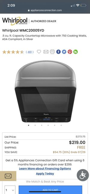 Stylish Whirlpool microwave for Sale in Glendale, CA