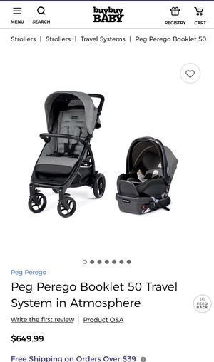 Peg Perego Booklet 50 Travel System stroller color atmosphere gray for Sale in Kunkletown, PA