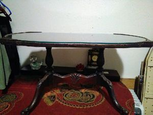 Antique table glass and wood top for Sale in San Antonio, TX