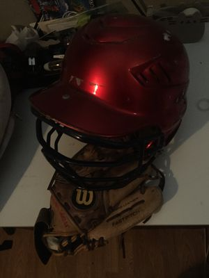 Baseball Helmet and Glove for Sale in Norwalk, CA