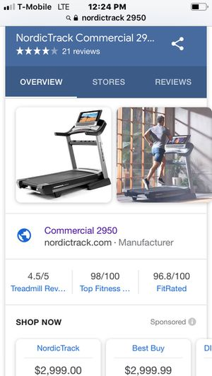 Nordictrack treadmill commercial 2950 for Sale in Indianapolis, IN