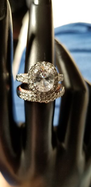 Simulated Diamond oval stone white and gold double line set Ring size 7 for Sale in Chicago, IL
