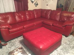 Red sectional and ottoman included for Sale in Lillington, NC