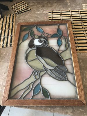 Stained glass Owl decor oak frames 20x14 for Sale in Imperial Beach, CA