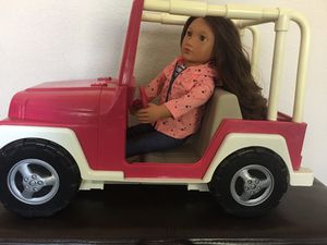 JEEP - FOR OUR GENERATION DOLL OR AMERICSN GIRL DOLL . JEEP HAS SOME FADING BUT IN VERY GOOD CONDITION !! DOLL NOT INCLUDED BUT CAN BE PURCHASED S for Sale in Modesto, CA