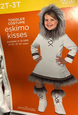 Toddler 2T 3T Girls White Eskimo Kisses Fur Lined Dress Hood Boot Covers Halloween Costume for Sale in Bremerton, WA