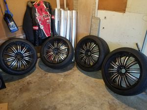 """22"""" rims with tires for Sale in New Brunswick, NJ"""