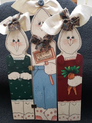 Wooden country decor standing rabbits for Sale in Bakersfield, CA
