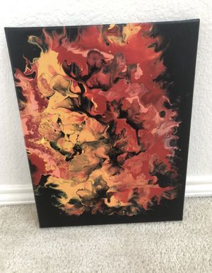 Fiery acrylic painting pour 11x14 for Sale in Crowley, TX