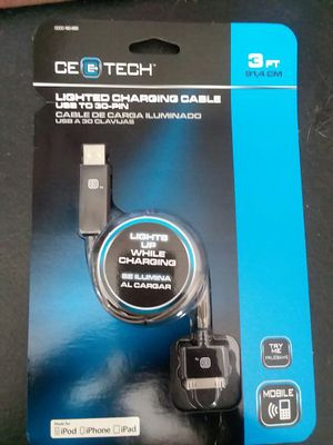 CE Tech lighted charging cable iphone, ipod, ipad for Sale in Lake Wales, FL