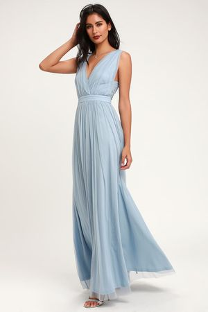 Lulus Romantic Moment Slate Blue Mesh Maxi Dress for Sale in Sacramento, CA