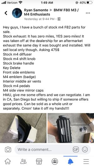 BMW M4 Parts for sale stock brake handle, key delete, front side emblems interior air vents, pedals, mirror caps for Sale in Chula Vista, CA