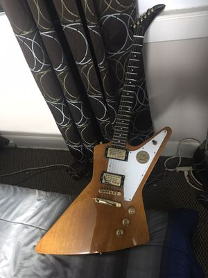 Ephiphone explorer electric guitar natural finish like new for Sale in Boonton, NJ