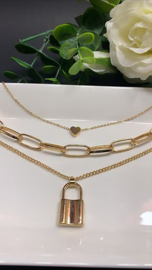 18K Gold Plated Heart Necklace Triple Layer Lover Lock Pendant, Gold Color for Sale in Los Angeles, CA