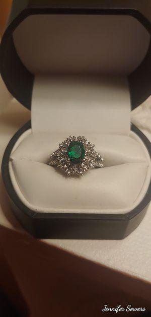 .925 Emerald And CZ Diamond Ring for Sale in Amarillo, TX