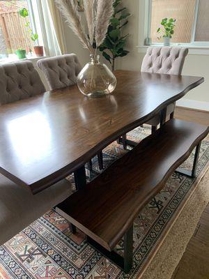 Live edge dining table and bench for Sale in Beaverton, OR