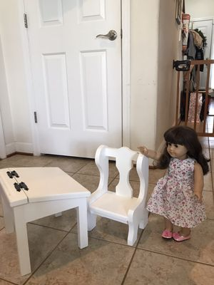 Adorable! Solid Wood white AG Doll Desk&Chair Set for Sale in Gainesville, VA