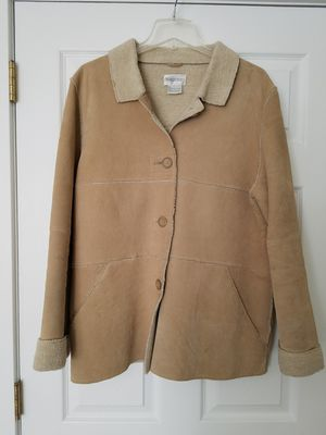 Womens size large leather suede coat sheepskin lined for Sale in Langhorne, PA