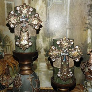Candle Holders w/Embellished Cross Pins Set for Sale in Fort Worth, TX
