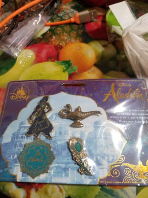 Disney Store 2019 Live Action Aladdin Limited Release Pin Set of 4 Jasmine Lamp for Sale in Houston, TX
