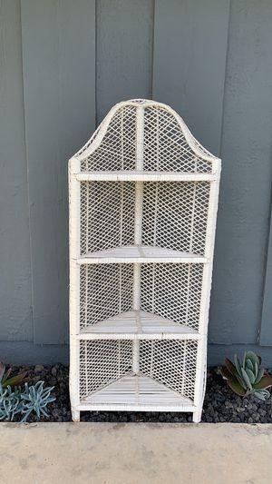 Small white wicker rattan corner shelf for Sale in Costa Mesa, CA