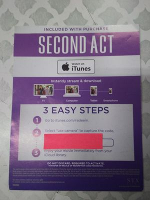 Second act digital movie for Sale in Bell Gardens, CA