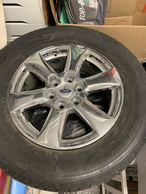 Ford rims and tires 3000 miles from my lariat F150 chrome pkg! + bolts originals for Sale in Naples, FL