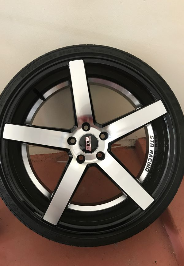 """$1000 5lugs STR 20""""black and chrome rims for sale or trade"""