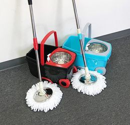 (New In Box) $25 each Deluxe Spin Mop with Wheels and Extended Handle with 2x Microfiber Mop Heads for Sale in Whittier,  CA