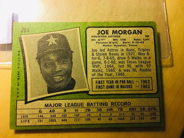 1971 Topps Joe Morgan Card #264 excellent/excellent plus.