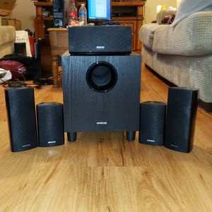 Onkyo 5.1 - 6 piece surround sound speakers & sub woofer for Sale in Glenshaw, PA