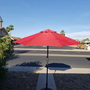 Large red Patio umbrella with large sturdy stand for Sale in Sun City, AZ