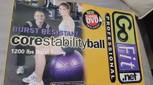 GoFit Core Stability purple Ball for Exercise and balance. Hand PUMP Included, training DVD course instruction all in the box. for Sale in Long Beach, CA