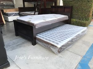 Solid Wood Twin Size Bed with Twin Roll Out (Mattresses Included) for Sale in Lynwood, CA