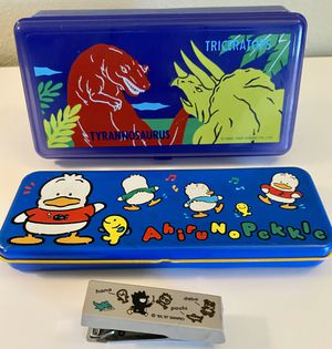 Vintage Sanrio Set Pencil Box Stapler Dinosaur Box for Sale in Orange, CA