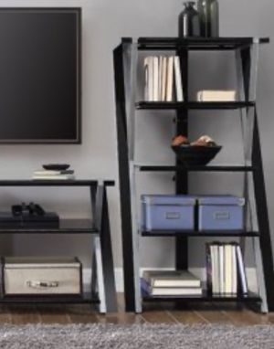 New!! Bookcase, bookshelves, organizer, audio media tower storage unit, 5 shelves tempered glass and metal tower media organizer set of 2, storage u for Sale in Phoenix, AZ