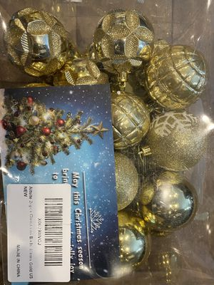 24 pc Christmas balls 60mm gold, party decoration , gift for Sale in Raleigh, NC
