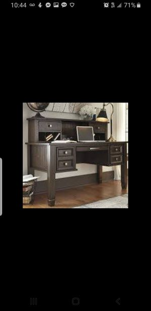 Townser grayish brown home office desk with hutch for Sale in Hayward, CA