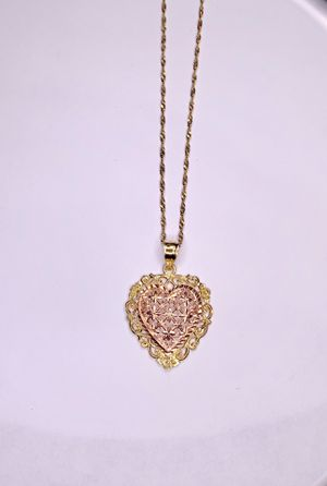 14K Two Tone Gold Heart Pendant Set With Chain for Sale in Palm City, FL