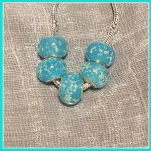 New 5pc: light blue glass bead charm for Sale in Las Vegas, NV