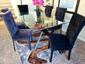 DINING GLASS TABLE WITH 6 VELVET CHAIRS for Sale in Las Vegas, NV