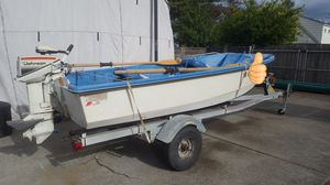 12' Livingston Boat with motor and trailer. for Sale in Fircrest, WA
