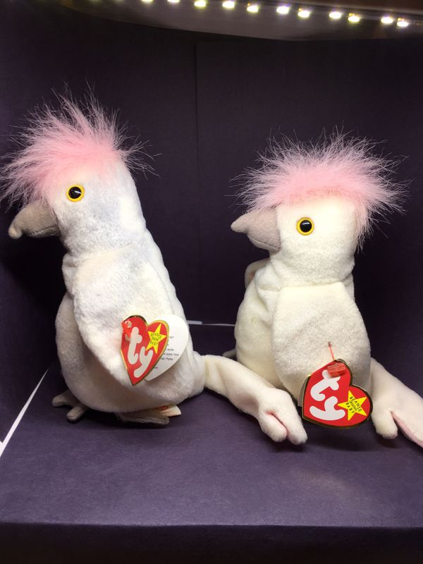 pair of retired Kuku's - rare vintage retired Beanie Babies in good condition