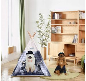 Pet Tent Bed, Pet Teepee House for Cats and Little Dogs Washable Navy Stripe Style with Breathable Mesh Window - Come with A Mat, Used All Year (Pet for Sale in Piscataway, NJ