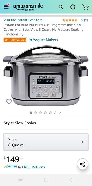 Instant Pot Aura Pro 11 in 1 Multi-Use Programmable Slow Cooker with Sous Vide, 8 Quart for Sale in Gilbert, AZ