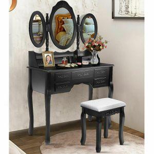 Tri Folding Oval wood Vanity Makeup Table set for Sale in Pleasanton, CA